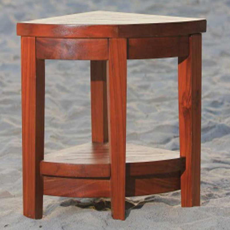 teak corner shower stool- extended height